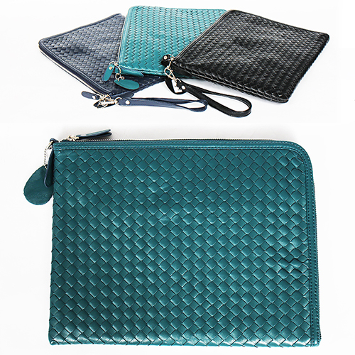 Weave Pattern Faux Leather Square Messenger Clutch Bag
