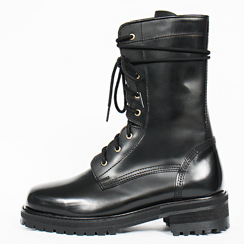 Military Handmade Black Leather Zip High Top Boots G1