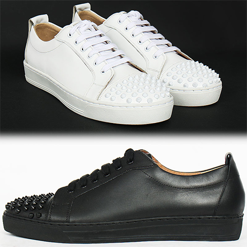 Handmade Cowhide Leather Studded Low Top Sneakers 5510