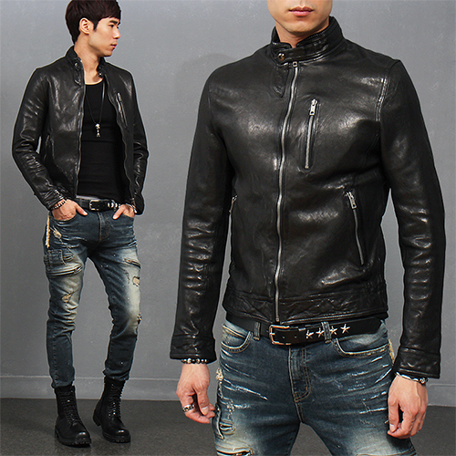 Button China Neck Zip Pocket Lambskin Leather Biker Jacket