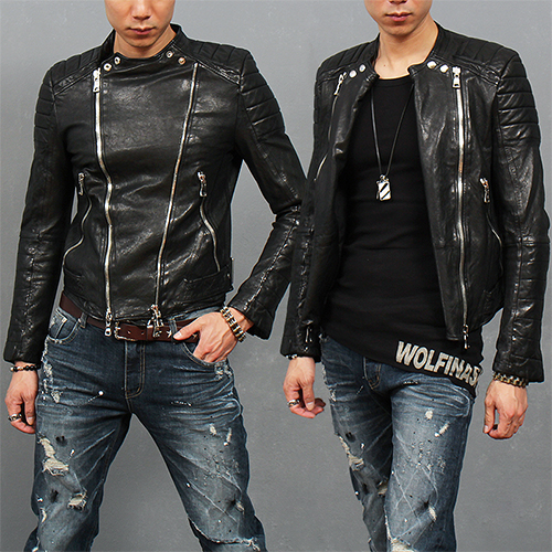 Three Way Multi Zipper Paneling Lambskin Leather Biker Jacket