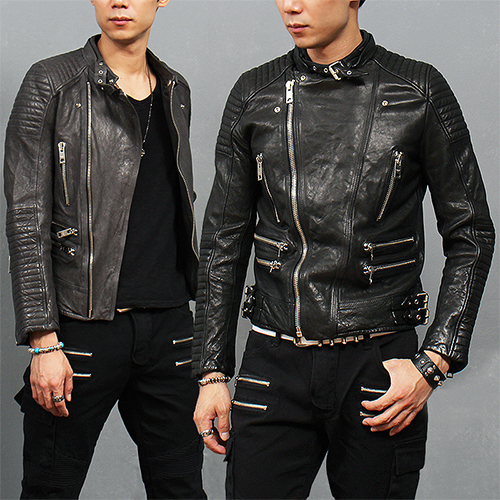 Diagonal Zipper Buckle Belt Paneling Lambskin Leather Biker Jacket