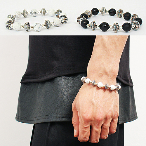 White Black Beaded 3D Steel Beads Bracelet 75