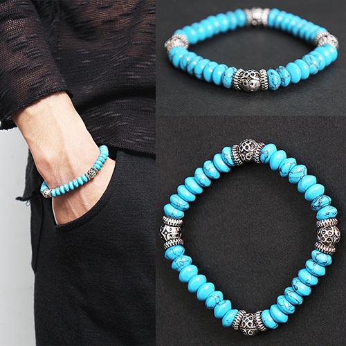 Aqua Blue Beaded 3D Steel Beads Bracelet 58