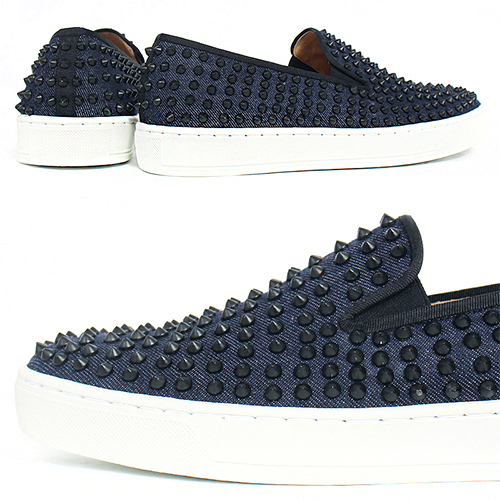 Handmade Leather Black Studs Denim Slip On Sneakers 5340