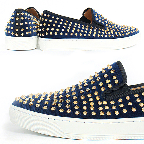 Handmade Blue Velvet Leather Gold Studs Slip On Sneakers 5340