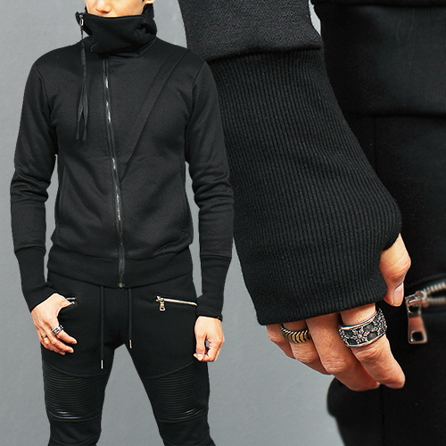 High Neck Diagonal Jersey Zip Up Hooded Sweatshirt