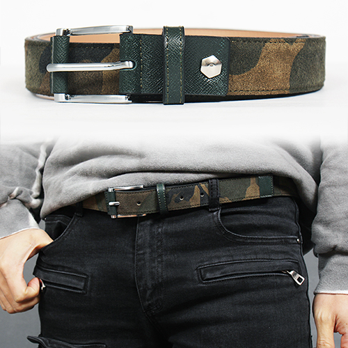 Camouflage Pattern Suede Leather Belt
