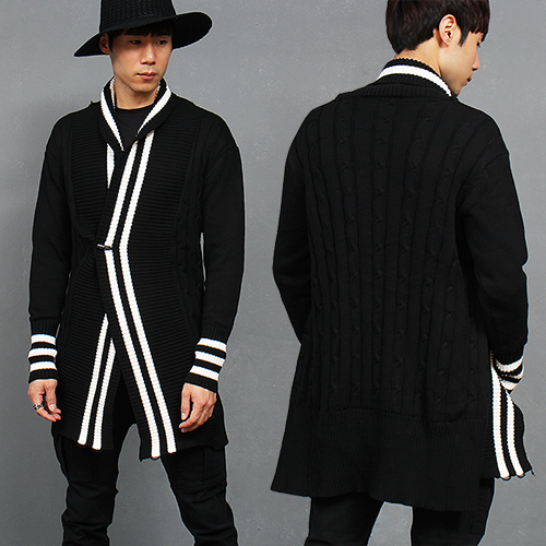 Ribbed Stripe Button Cable Knit Long Cardigan