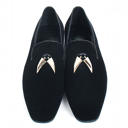 Handmade Gold Garnish Black Velvet Leather Loafers 5271-1