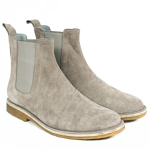 Handmade Suede Leather Chealsea Dealer Raw Rubber Sole Gray Boots