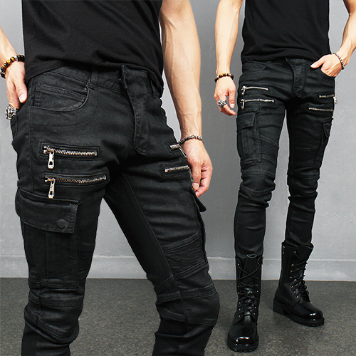 Black Wax Coated Zipper Cargo Pocket Bikers Skinny Jeans 935