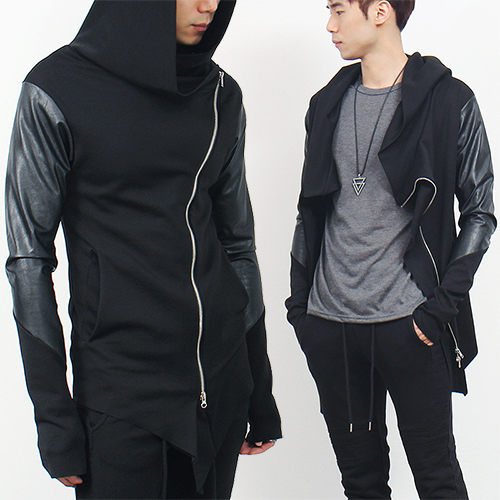 Curved Zipper Handwarmer Zip Up Jersey Hoodie