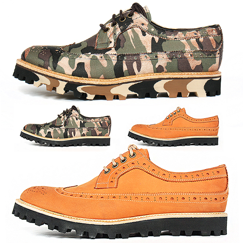 Camouflage Handmade Wingtip Brogue Shoes 3407