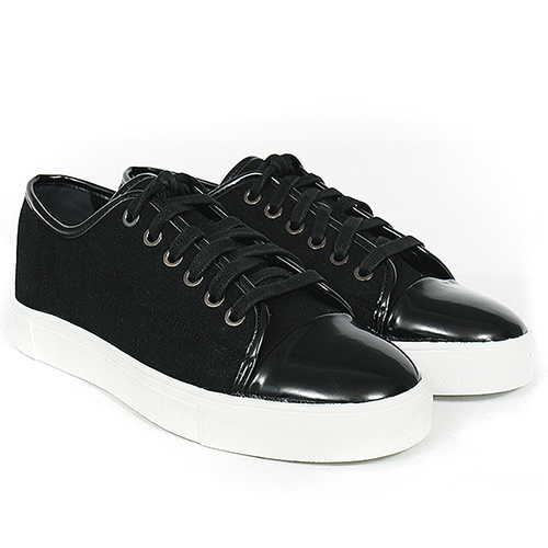 Leather Patent Cap Toe Lace Up Low Top Sneakers 327