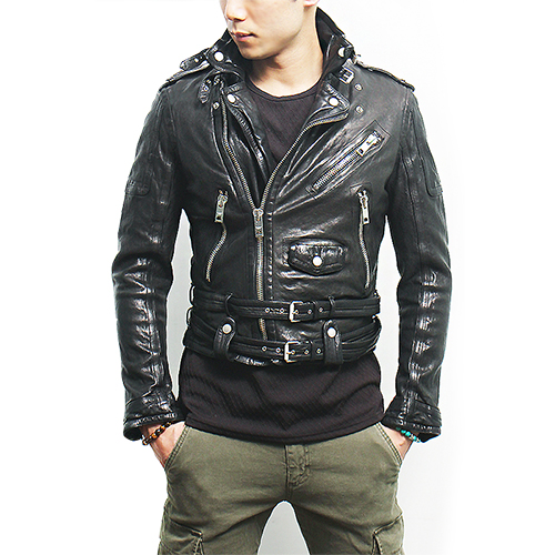 Zipper Buckle Belted Riders Black Leather Jacket
