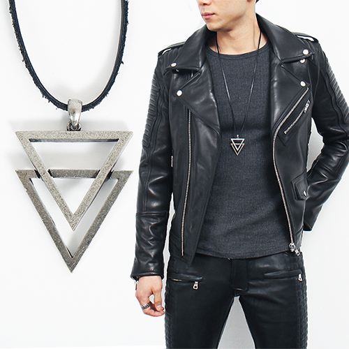 Double Triangle Leather Strap Necklace 20