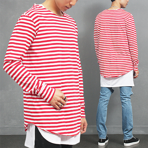 Loose Fit Red Striped Shirttail Hem Long T Shirt