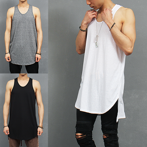 Over Long Unbalanced Side Vented Split Hem Sleeveless Tank Top