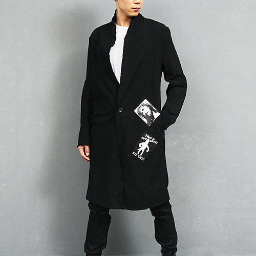 Logo Patch One Button Black Linen Long Cardigan