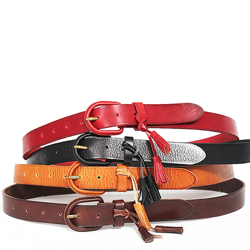 Color Buckle Tassel Leather Belt