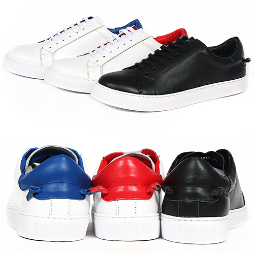Low Top Back Strap Tied Up Leather Sneakers 016