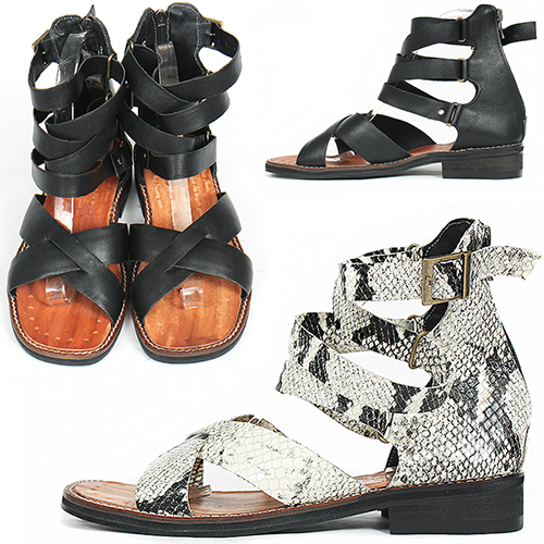 Handmade Leather Gladiator Black/White Snake Pattern Sandals 5146
