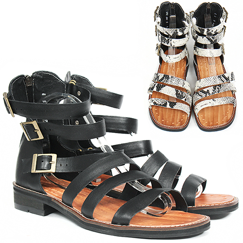 Handmade Leather Gladiator Black/White Snake Pattern Sandals 5147