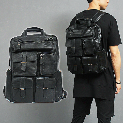 Black Leather Multi Pocket Backpack H2083