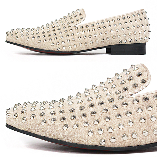 Handmade Leather Beige Suede Studded Slip On Loafers 5210