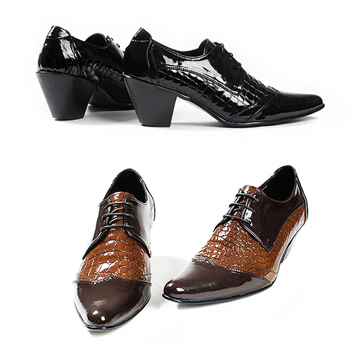 Handmade 7Cm High Heel Crocodile Pattern Patent Leather Oxfords 2513