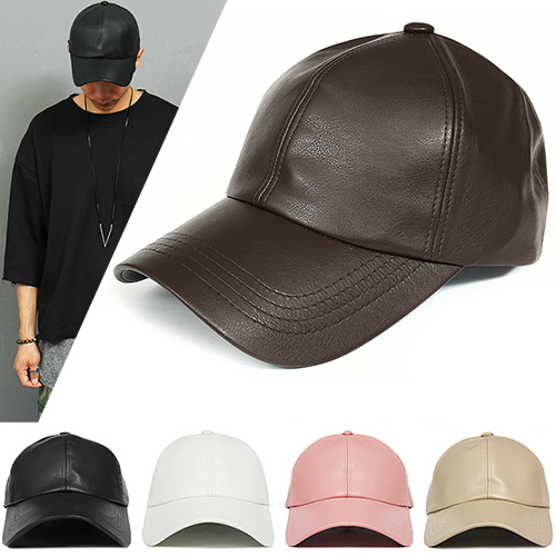 Street Fashion Faux Leather Color Baseball Cap