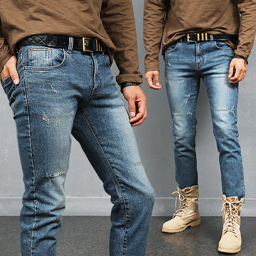 Street Fashion Vintage Distressed Blue Jeans 864