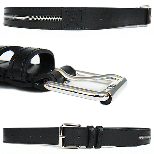 Designer Zipper Buckle Black Leather Belt