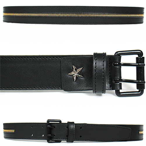 Gold Zipper Double Pin Buckle Black Leather Belt