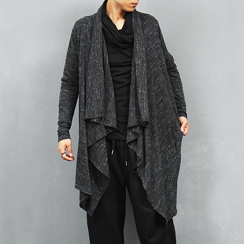 Avant garde Symmetric Draped Shawl Knit Cardigan