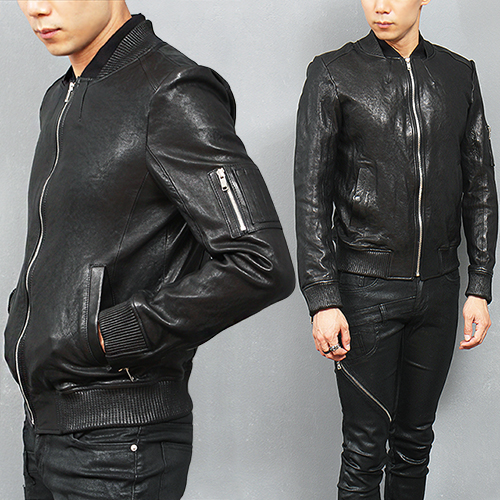 Slim Fit Genuine Leather Bomber Jacket