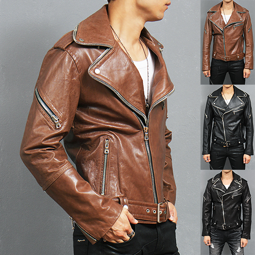 Zippered Collar Belt Genuine Lambskin Leather Rider Jacket