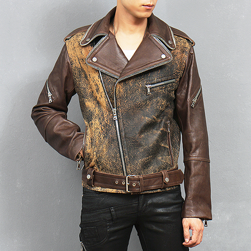 Zippered Collar Vintage Style Belt Genuine Leather Rider Jacket