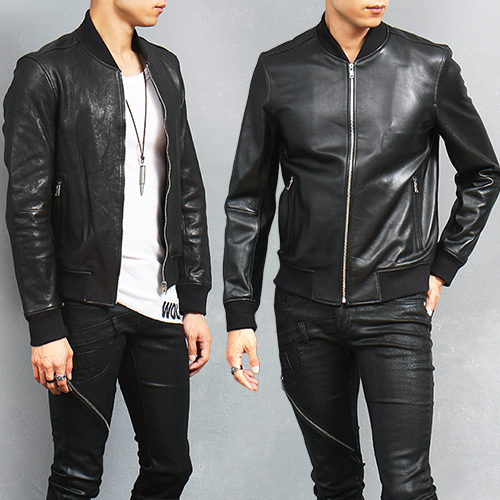 Slim Fit Genuine Black Leather Bomber Jacket