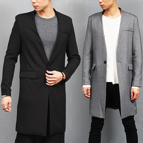 China Collar One Button Slim Long Jacket Coat
