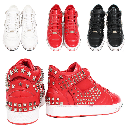 Multi Studs High Top Leather Sneakers 030