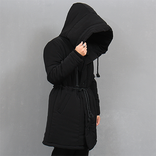 Avant garde Big Hood Long Puffa Black Parka
