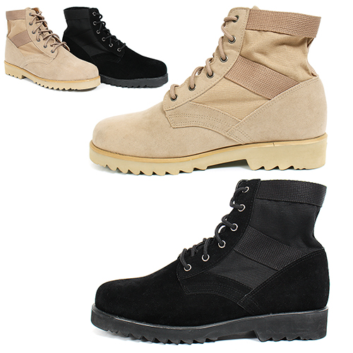 Beige Black Military Desert Middle Top Boots