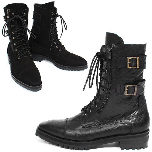 Double Buckle Out Side Zipper Handmade Leather Boots ES0403