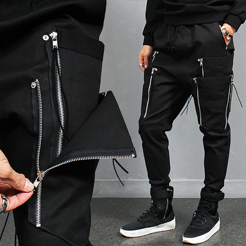 Double Layered Zipper Pocket Slim Jogger Pants