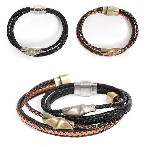 Double Twisted Leather Strap Bracelet 202