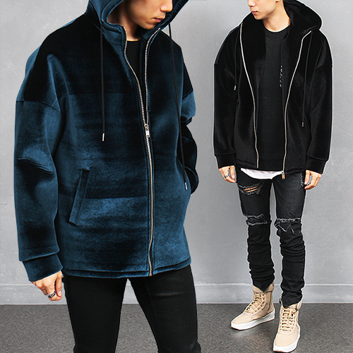 Loose Fit Velvet Zip Up Hoodie