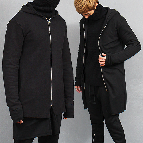 Layered Reversible Hood Long Zip Up