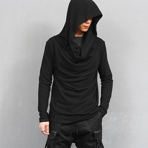 Big Hood Shirring Buckle Neck Knit Tee
